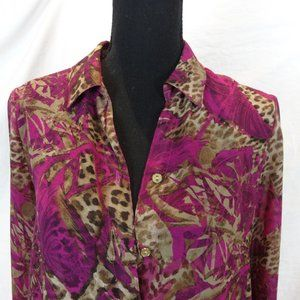 Chico's Purple Animal Print Button Up Size 4-6